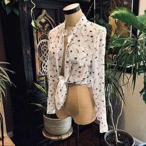 Gypsi's Closet Tops - Chiffon blouse with parrots and palm tree graphics